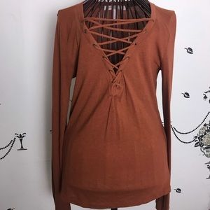 Forever 21 Lace Up Long Sleeve Knit Top Size M